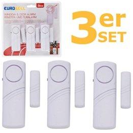 Eurosell 3 Stück Fenster / Tür Alarm Sensor + Sirene - Einbruch Diebstahl Schutz ! Türalarm / Fensteralarm FUNK Alarmanlage Alarm Alarmsystem - 1