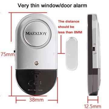 Fenster- und Türalarm, [4 Stück]Ultra-Dünner Tür Fenster Einbrecher Alarm mit Laute 120DB Sirene - 3