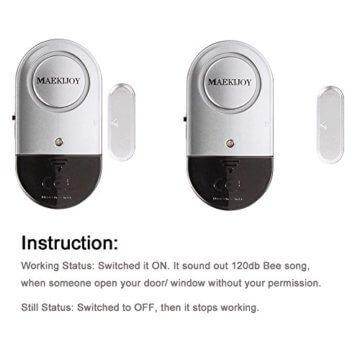 Fenster- und Türalarm, [4 Stück]Ultra-Dünner Tür Fenster Einbrecher Alarm mit Laute 120DB Sirene - 5