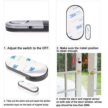 Fenster- und Türalarm, [4 Stück]Ultra-Dünner Tür Fenster Einbrecher Alarm mit Laute 120DB Sirene - 6