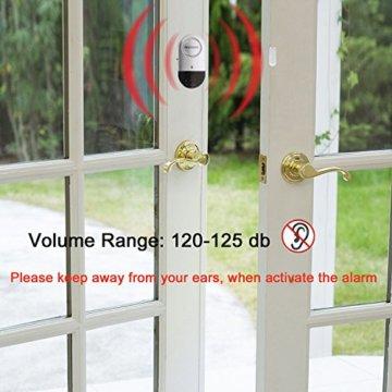 Fenster- und Türalarm, [4 Stück]Ultra-Dünner Tür Fenster Einbrecher Alarm mit Laute 120DB Sirene - 7
